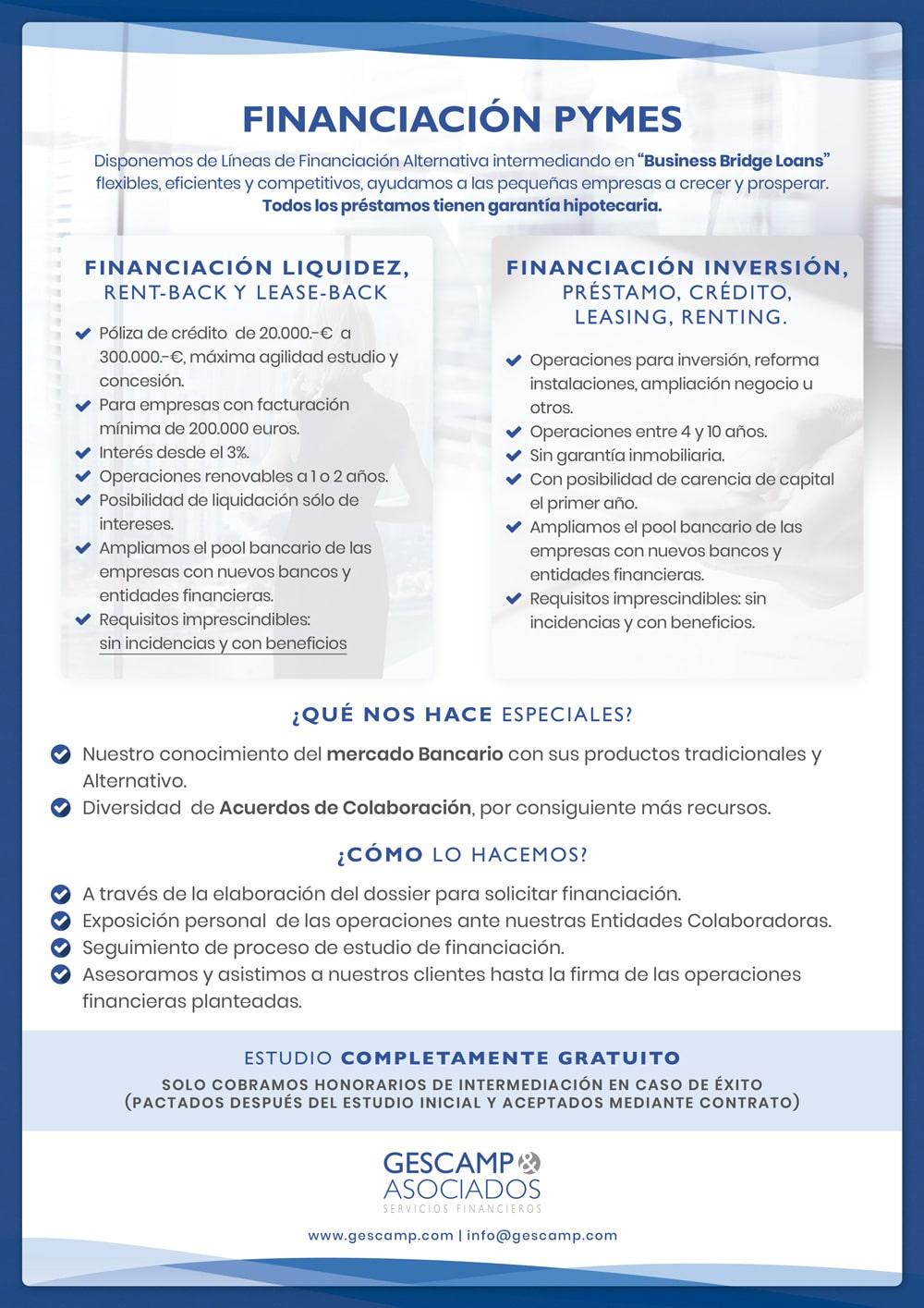 FINANCIACION PARA PYMES - GESCAMP ASOCIADOS